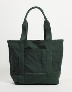 Темно-зеленая большая сумка-тоут из плотной ткани из органического хлопка с ручкой и длинным плечевым ремнем ASOS DESIGN-Зеленый цвет