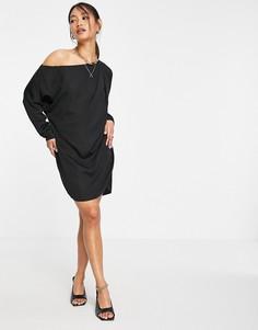 Свободное черное платье мини с открытыми плечами ASOS DESIGN-Черный цвет