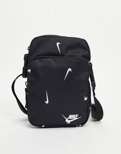 Черная сумка для полетов со сплошным принтом логотипа Nike Heritage-Черный