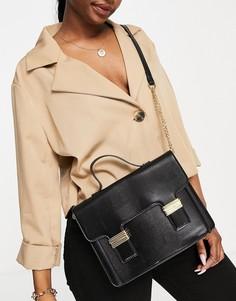 Черная сумка-портфель через плечо с золотистой фурнитурой ASOS DESIGN-Черный