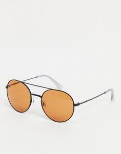 Солнцезащитные очки-авиаторы в черной оправе с оранжевыми стеклами Jack & Jones-Черный