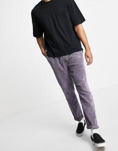 Вельветовые узкие брюки с эластичным поясом и эффектом кислотной стирки фиолетового цвета ASOS DESIGN-Фиолетовый цвет