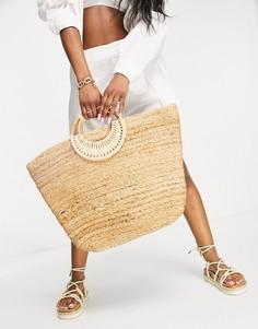 Соломенная пляжная сумка естественного оттенка Pieces-Светло-бежевый