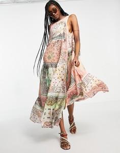 Платье макси в стиле пэчворк с широкой юбкой Free People Bandana Rama-Многоцветный