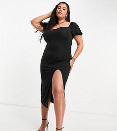 Черное платье мидакси с разрезом Missguided Plus-Черный