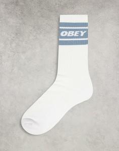 Белые носки с голубыми полосками Oobey Cooper-Белый