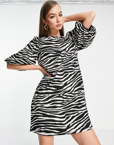 Платье мини с зебровым принтом Y.A.S-Многоцветный