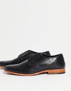 Черные кожаные туфли на шнуровке ASOS DESIGN-Черный цвет