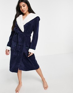 Синий пушистый халат Chelsea Peers-Голубой