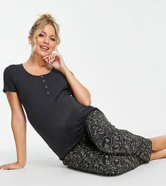 Черная пижама для кормления с принтом Mamalicious Maternity-Многоцветный Mama.Licious
