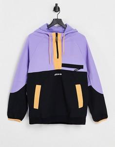 Светло-фиолетовый худи в стиле колор-блок на молнии adidas Originals adventure-Фиолетовый цвет