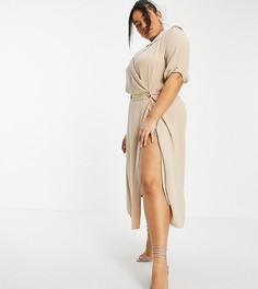Платье-смокинг миди с запахом и подплечниками светло-бежевого цвета ASOS DESIGN Curve-Светло-бежевый