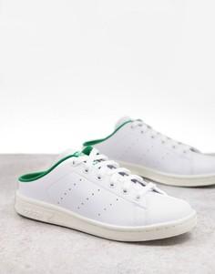 Белые кроссовки-мюли с зеленой вставкой из экологичных материалов adidas Originals Stan Smith-Серый