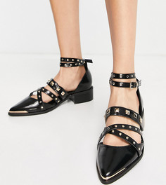 Черные туфли для широкой стопы на плоской подошве с металлической отделкой и острым носком ASOS DESIGN-Черный цвет
