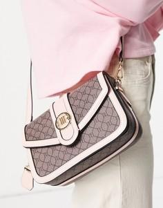 Коричневая сумка-портфель с монограммой River Island-Коричневый цвет