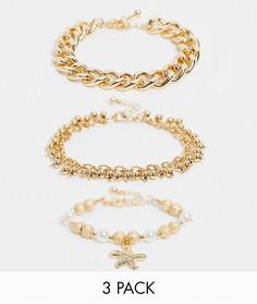 Набор из 3 золотистых браслетов с подвеской в виде морской звезды и жемчужинами ASOS DESIGN-Золотистый