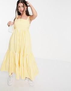Платье макси в полоску с ярусной юбкой из органического хлопка People Tree-Желтый