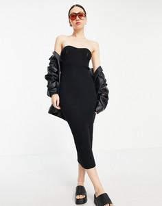 Черное платье макси с открытыми плечами и вырезом сердечком ASOS DESIGN-Черный цвет