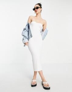 Кремовое платье макси с открытыми плечами и вырезом сердечком ASOS DESIGN-Белый