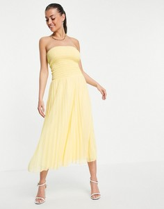 Платье-бандо макси желтого цвета со складками ASOS DESIGN-Желтый