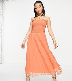 Плиссированное платье макси в стиле бандо рыжего цвета ASOS DESIGN Petite-Красный