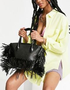 Черная пляжная сумка с бахромой NA-KD-Черный цвет