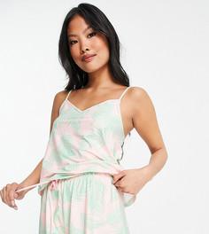Пижама с майкой на бретелях и шортами с розовым и зеленым принтом в виде пальмовых листьев Loungeable Petite-Многоцветный