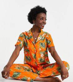 Эксклюзивная оранжевая пижама из модала с рубашкой с короткими рукавами и брюками с пальмовым принтом ASOS DESIGN Tall-Оранжевый цвет