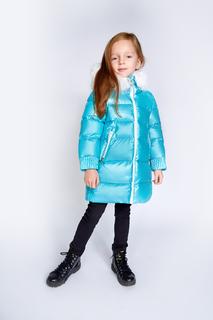Блестящий пуховик для девочки Baon BK009518 голубой р.146