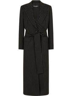 Dolce & Gabbana однобортное пальто в тонкую полоску с поясом