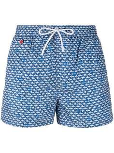 Kiton плавки-шорты с кулиской и графичным принтом