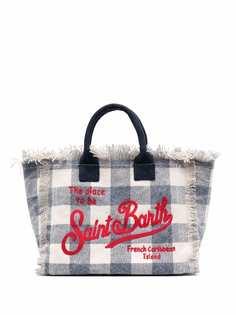 Mc2 Saint Barth пляжная сумка в клетку тартан с логотипом