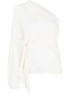 Nanushka платье на одно плечо с поясом