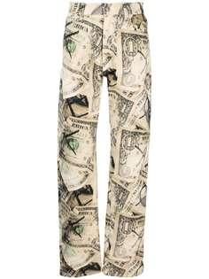 424 прямые джинсы с принтом