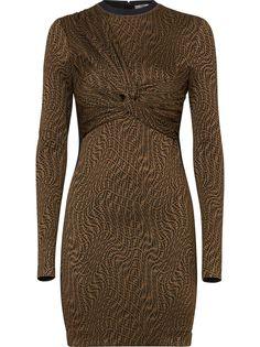Fendi платье с принтом FF Vertigo и драпировкой