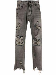 R13 прямые джинсы с эффектом потертости
