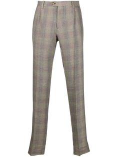 Etro зауженные брюки в ломаную клетку