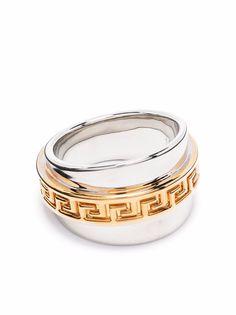 Versace двухцветное кольцо с декором Greca
