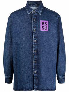 Raf Simons джинсовая рубашка с нашивкой-логотипом