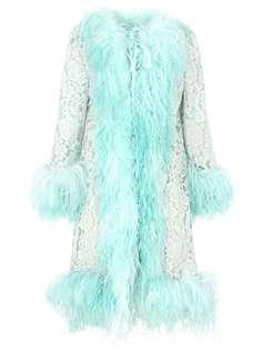 Dolce & Gabbana кружевное пальто со вставками из искусственного меха