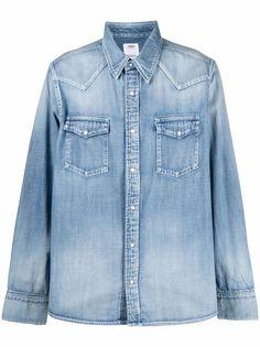 visvim джинсовая рубашка с эффектом потертости