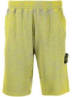 Stone Island logo-patch faded track shorts