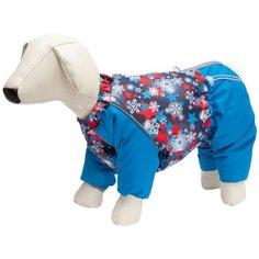 OSSO FASHION комбинезон для собак маленьких пород на синтепоне Снежинка синий/красный для мальчиков (28)