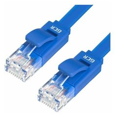 Плоский LAN patch cord GCR сетевой кабель патч корд UTP CAT 5е RJ 45 для Ethernet cable роутер smart TV 0.15м синий