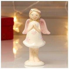 """Сувенир керамика """"Малышка-ангел в белом платье с цветами - молитва"""" 13х4,5х6,5 см 4825462 Сима ленд"""