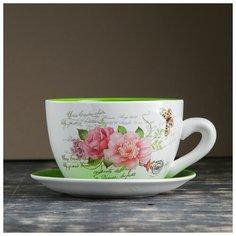 """Горшок цветочный в форме чашки """"Цветы"""" 19*24*12 см 3924662 Take It Easy"""