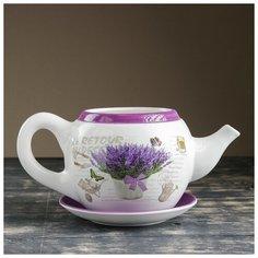 """Горшок цветочный в форме чайника """"Лаванда"""" 32*18*15 см 3924669 Take It Easy"""