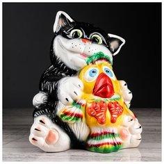 """Копилка """"Кот с птичкой"""", глянец, 24 см 3417035 Керамика ручной работы"""