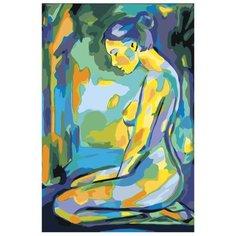 Обнаженная сидящая девушка Раскраска картина по номерам на холсте RO284 40х60
