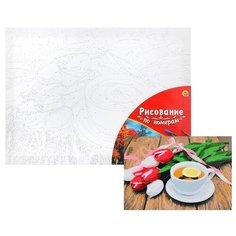 Картина по номерам Рыжий кот Холст с красками, 30*40 см, палитра, Чай и букет тюльпанов (Х-7383)